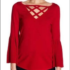 NWT Evolution Red Bell Sleeve Criss Cross Sweater